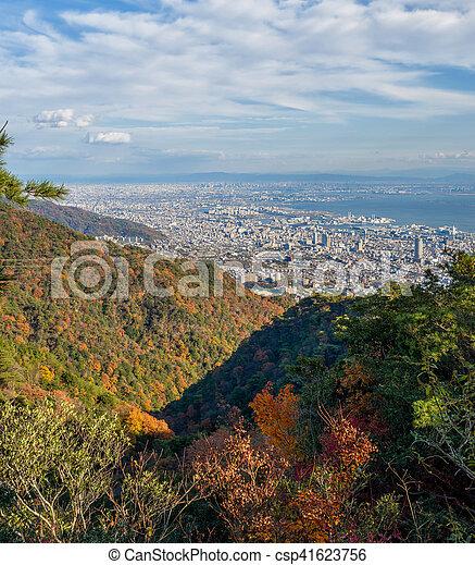 Aerial view of Kobe City from Mount Maya in Colorful season, Japan - csp41623756
