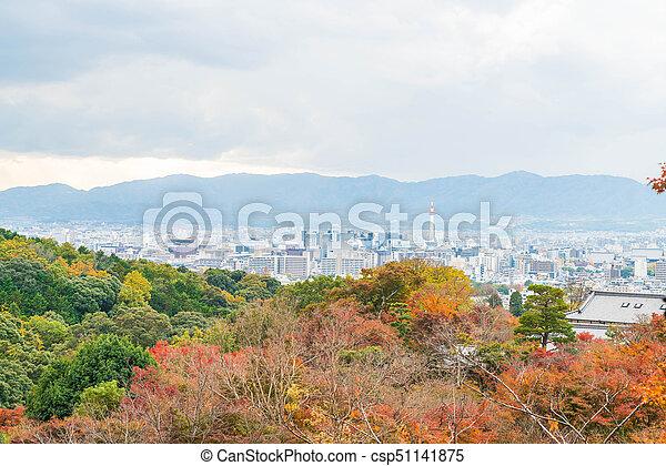 Aerial view of Kyoto City from Kiyomizu-dera in Autumn season. - csp51141875
