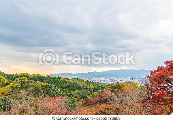 Aerial view of Kyoto City from Kiyomizu-dera in Autumn season. - csp52726683