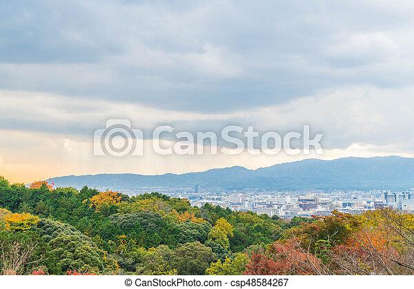 Aerial view of Kyoto City from Kiyomizu-dera in Autumn season. - csp48584267