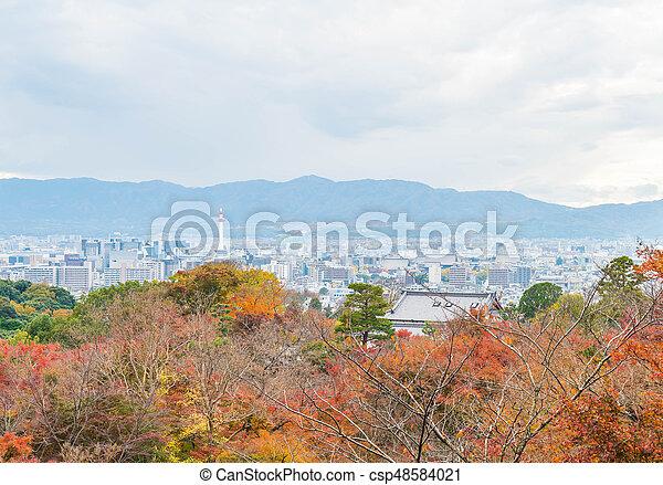 Aerial view of Kyoto City from Kiyomizu-dera in Autumn season. - csp48584021