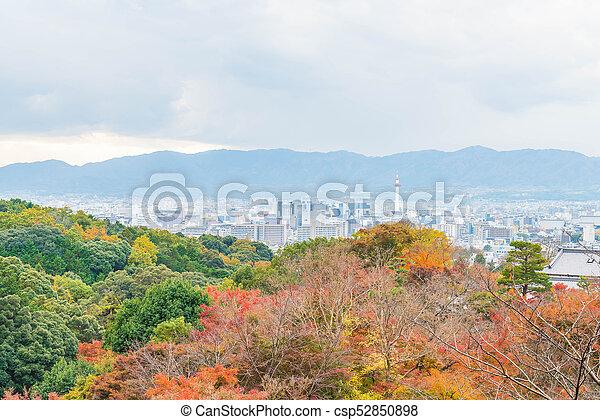 Aerial view of Kyoto City from Kiyomizu-dera in Autumn season. - csp52850898