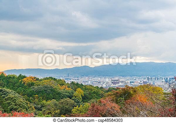 Aerial view of Kyoto City from Kiyomizu-dera in Autumn season. - csp48584303