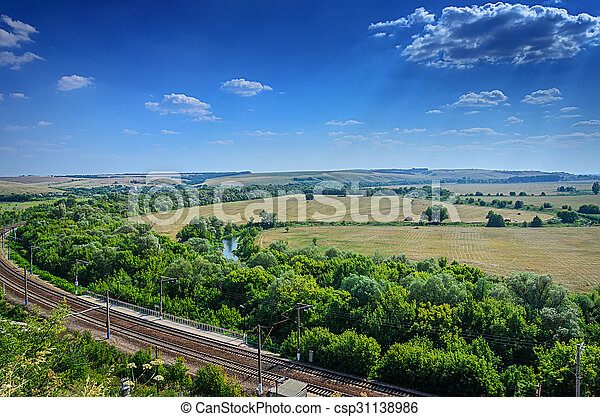 Aerial view of Landscape of field and railroad - csp31138986