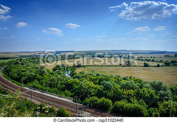 Aerial view of Landscape of field and railroad - csp31022440