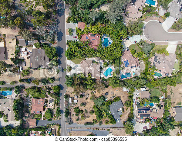 Aerial view of large-scale wealthy residential villa with swimming pool - csp85396535