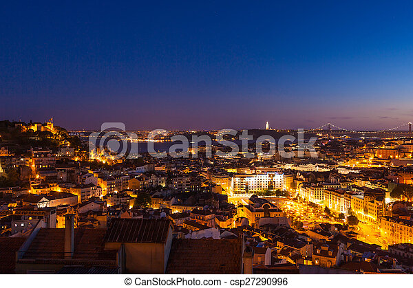 Aerial view of Lisbon rooftop from Senhora do Monte viewpoint (M - csp27290996