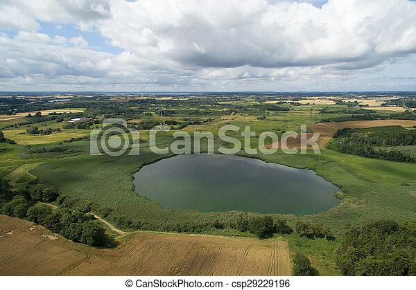 Aerial view of Loeje lake in Denmark - csp29229196