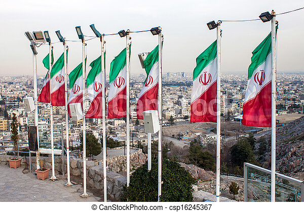 Aerial view of Mashhad with Iranian flags, Iran - csp16245367