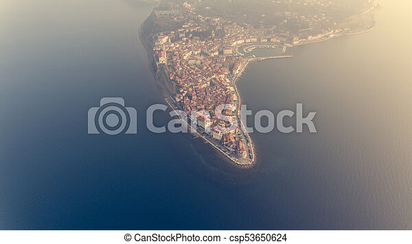 Aerial view of mediterranean coastal town. - csp53650624