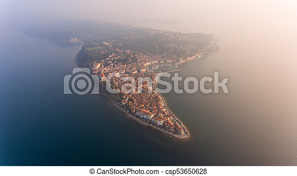 Aerial view of mediterranean coastal town. - csp53650628