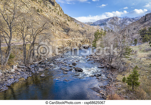 aerial view of mountain river and canyon - csp68625067