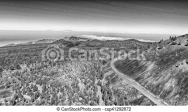 Aerial view of mountain windy road - csp41292872