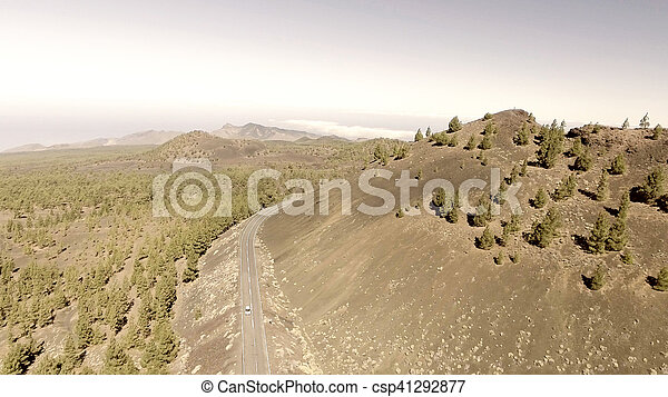 Aerial view of mountain windy road - csp41292877