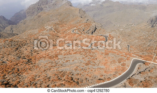 Aerial view of mountain windy road - csp41292780