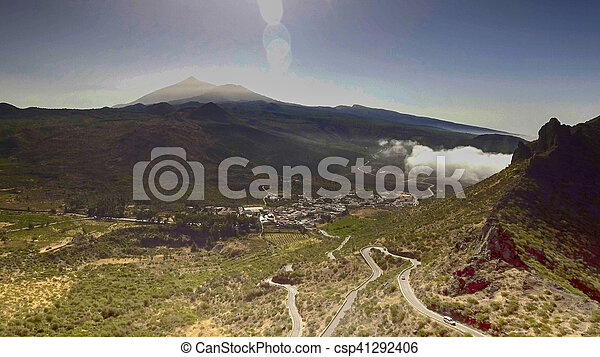 Aerial view of mountain windy road - csp41292406