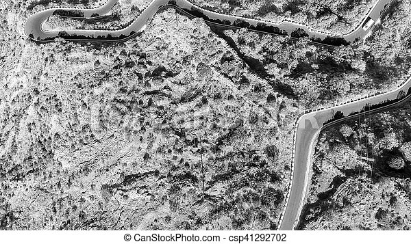 Aerial view of mountain windy road - csp41292702