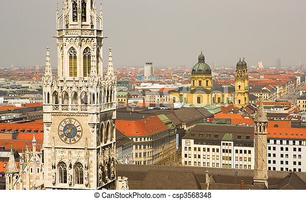 Aerial view of Munchen (Bavaria, Germany) with the New Town Hall - csp3568348