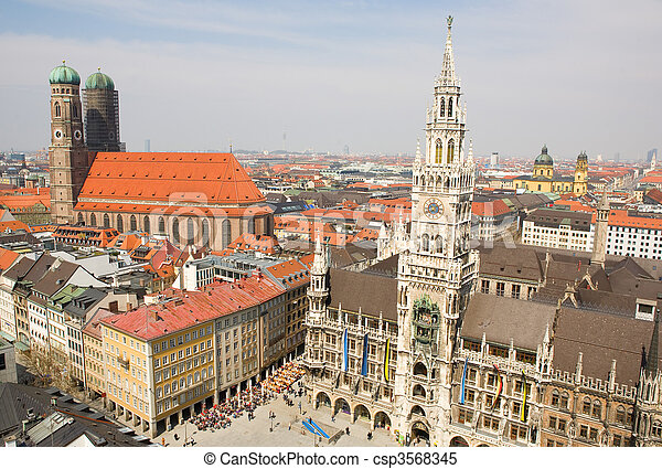 Aerial view of Munchen (Bavaria, Germany) with the New Town Hall and Frauenkirche - csp3568345