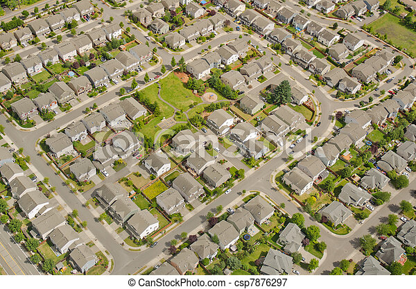 Aerial View of Neighborhood - csp7876297
