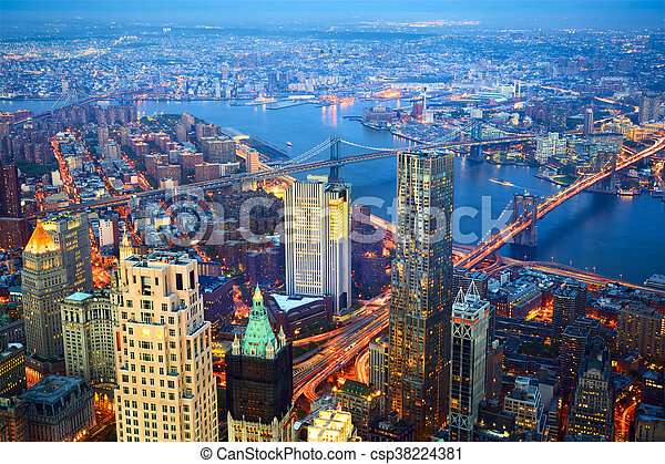 Aerial view of New York City at dusk - csp38224381
