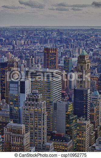 Aerial view of New York City Skyline - csp10952775