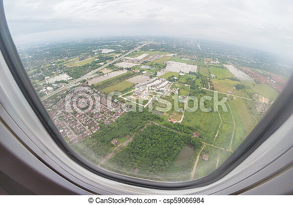 Aerial View Of North Thailand Area As Seen From The Airplane On Sunny Day. - csp59066984