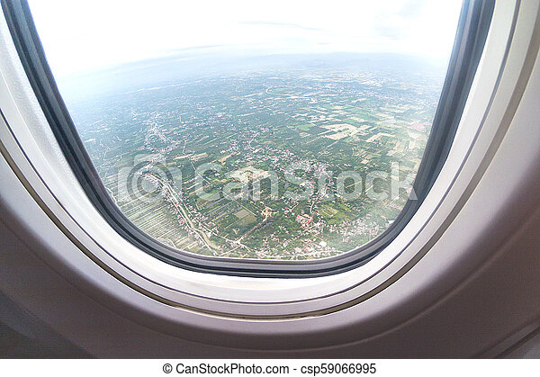 Aerial View Of North Thailand Area As Seen From The Airplane On Sunny Day. - csp59066995