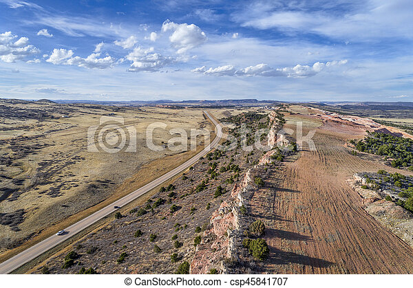 aerial view of northern Colorado foothills - csp45841707
