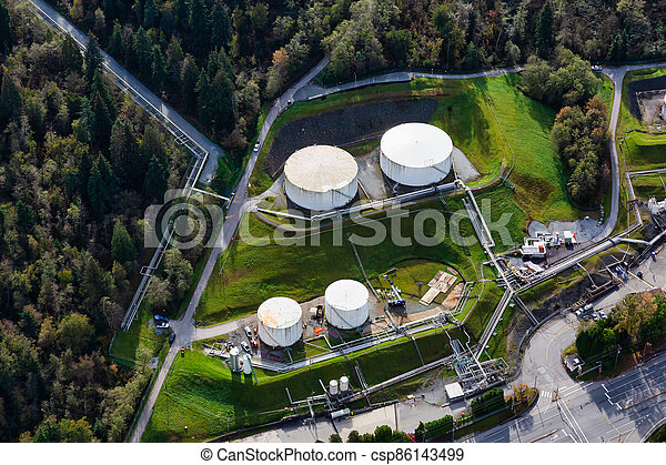 Aerial view of Oil Refinery Industrial Site in a modern city - csp86143499