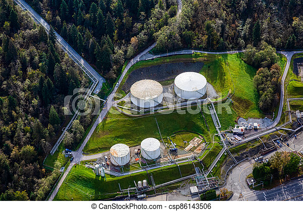 Aerial view of Oil Refinery Industrial Site in a modern city - csp86143506