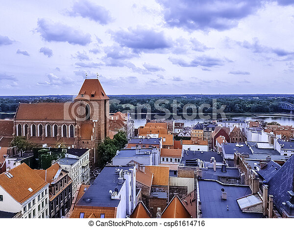 Aerial view of Old Town in Torun, Poland - csp61614716