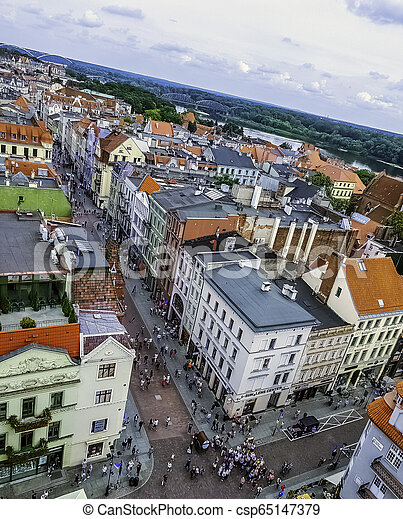 Aerial view of Old Town in Torun, Poland - csp65147379