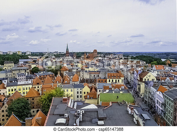 Aerial view of Old Town in Torun, Poland - csp65147388
