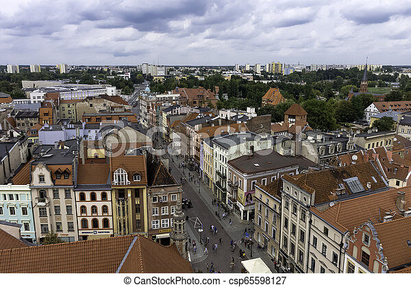 Aerial view of Old Town in Torun, Poland - csp65598127