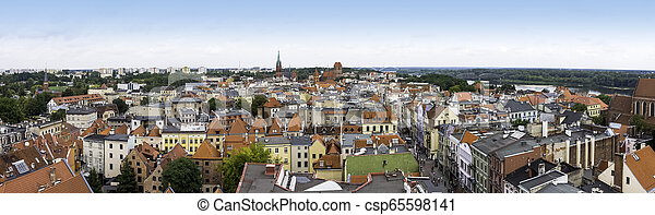Aerial view of Old Town in Torun, Poland - csp65598141
