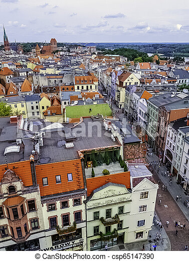 Aerial view of Old Town in Torun, Poland - csp65147390