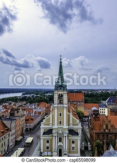 Aerial view of Old Town in Torun, Poland - csp65598099