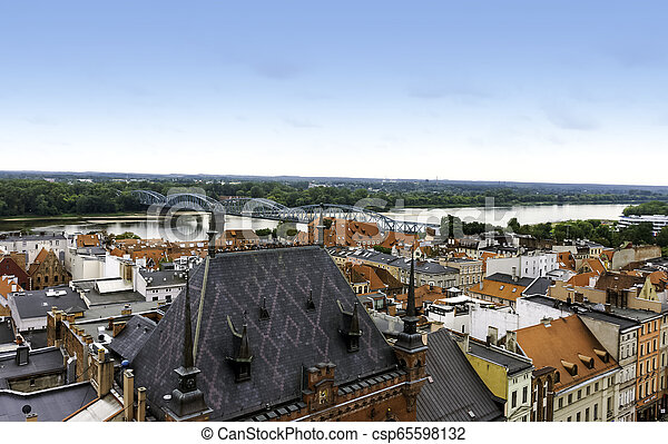 Aerial view of Old Town in Torun, Poland - csp65598132