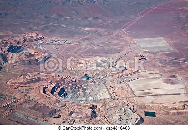 aerial view of open-pit copper mine in Atacama desert, Chile - csp4816468