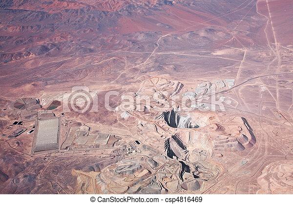 aerial view of open-pit copper mine in Atacama desert, Chile - csp4816469