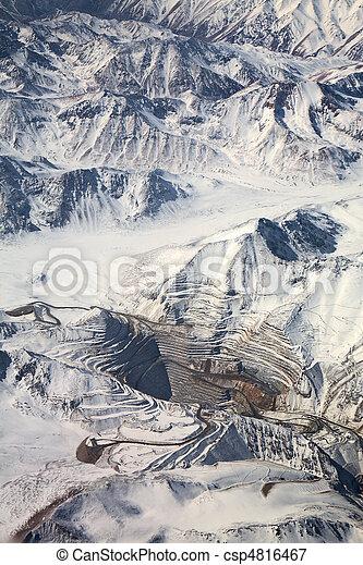 aerial view of open-pit mine under snow in Atacama desert, Chile - csp4816467
