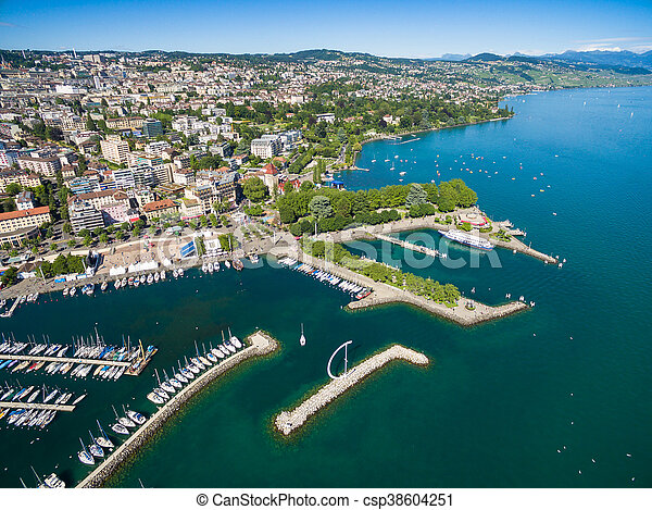 Aerial view of Ouchy waterfront in  Lausanne, Switzerland - csp38604251