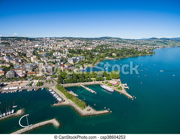 Aerial view of Ouchy waterfront in  Lausanne, Switzerland - csp38604253