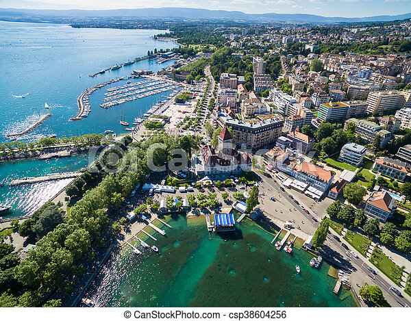 Aerial view of Ouchy waterfront in  Lausanne, Switzerland - csp38604256