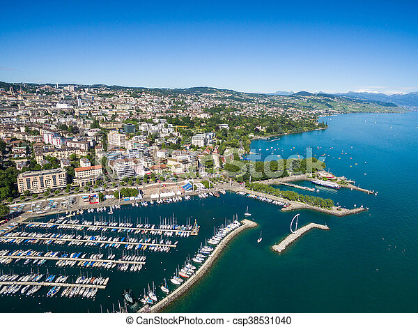 Aerial view of Ouchy waterfront in  Lausanne, Switzerland - csp38531040