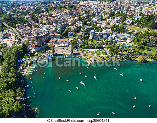 Aerial view of Ouchy waterfront in  Lausanne, Switzerland - csp38604241