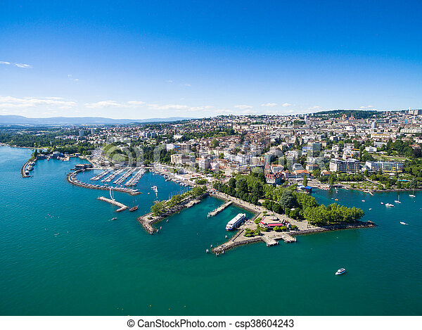 Aerial view of Ouchy waterfront in  Lausanne, Switzerland - csp38604243