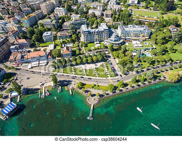 Aerial view of Ouchy waterfront in  Lausanne, Switzerland - csp38604244