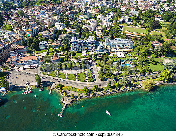 Aerial view of Ouchy waterfront in  Lausanne, Switzerland - csp38604246